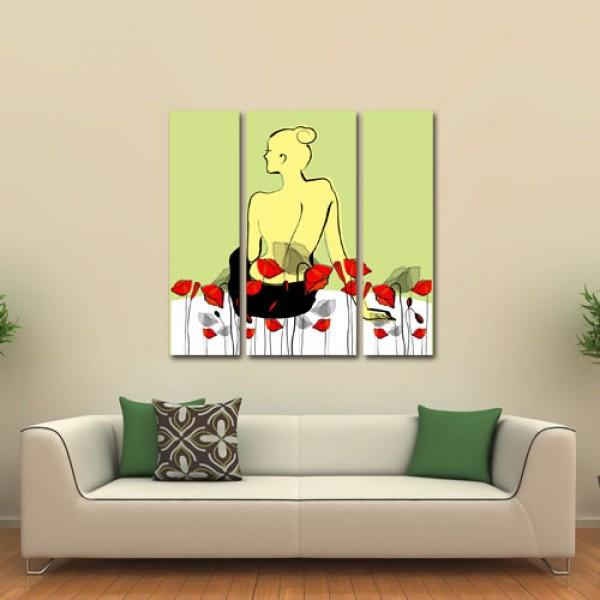 Tablou canvas 3 piese | Flori de Mac