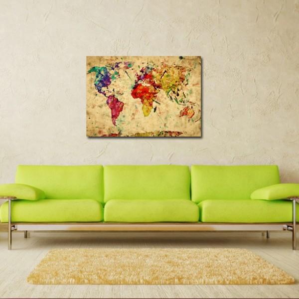 Tablou Decorativ | Harta Lumii Pictata