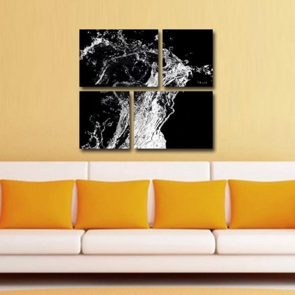 Tablou Canvas | Stropi de apa pe fundal negru