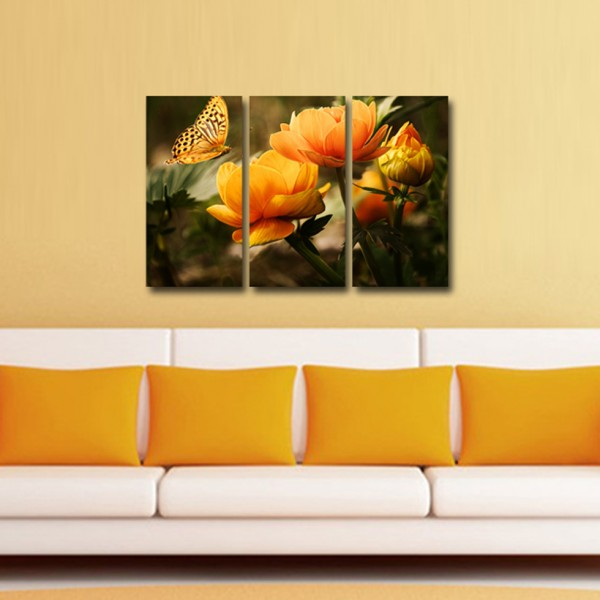 Tablou Canvas 3 piese | Flower Butterfly