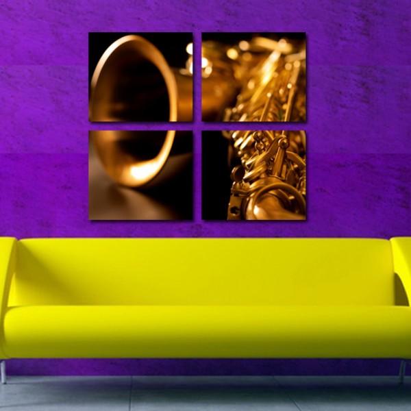 Tablou Canvas 4 Piese | Saxofon