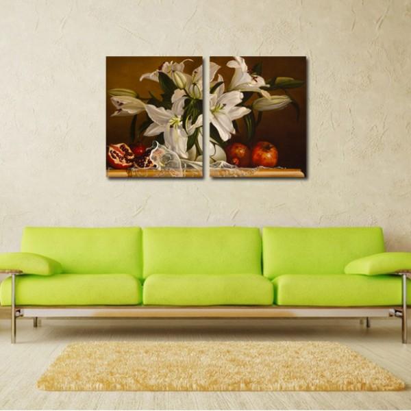 Tablou Canvas 2 piese | Flori pictate