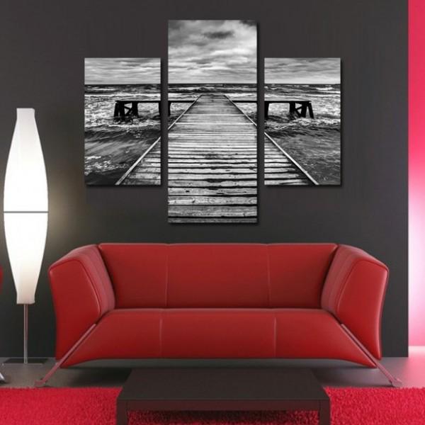 Tablou Canvas 3 pies | Ponton Alb-negru