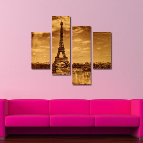 Tablou Canvas din 4 piese | Paris in Sepia