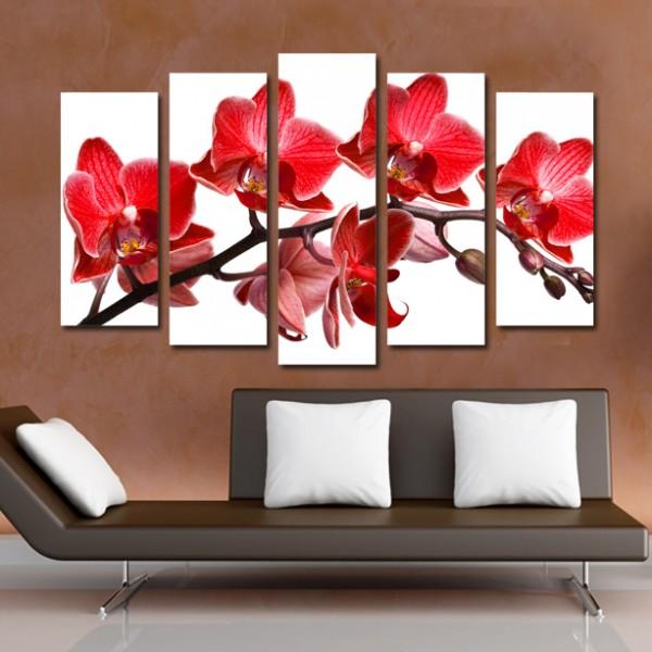 Tablou Canvas din 5 piese | Flori rosii