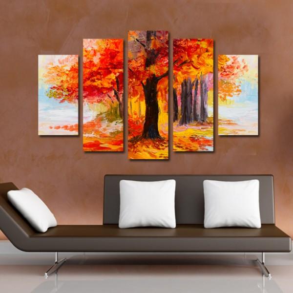 Tablou Canvas 5 piese | Padure pastelata