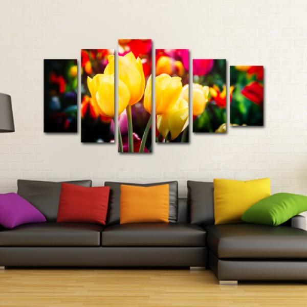Tablou Canvas 6 piese| Buchet de flori colorate