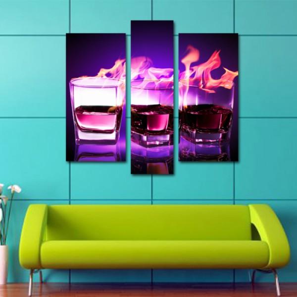 Tablou Canvas 3 piese | Purple Glas
