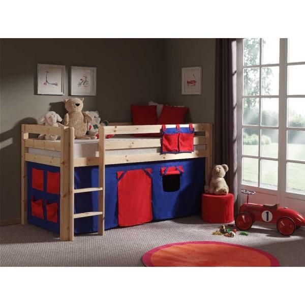 Pat din lemn de pin pentru copii Pino Blue / Red