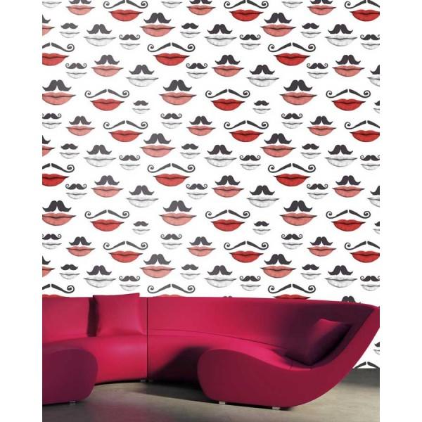 Set 3 role Tapet Imprimat Digital Moustache and lips